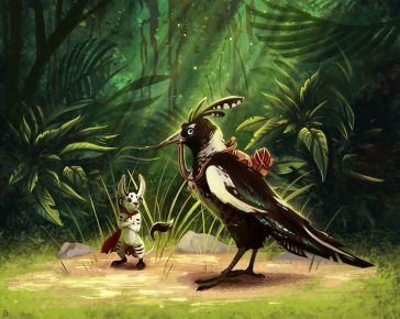 a silver fox-rabbit and a crested magpie with saddle in a forest clearing