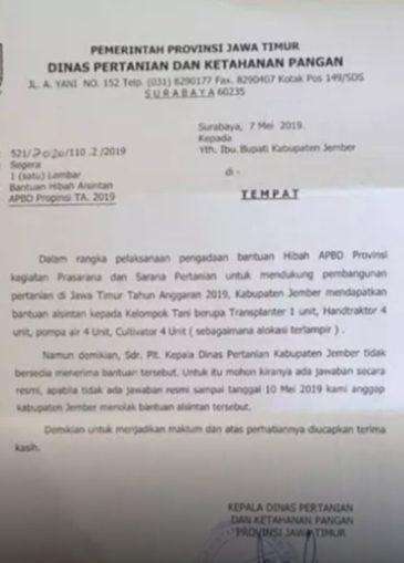 Surat Dinas Pertanian Propinsi Jawa Timur