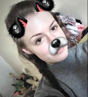 Red eyes + Halloween dog filter = Cool.