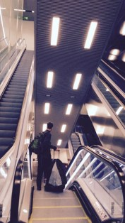 The many escalators that led to and from the Metro station