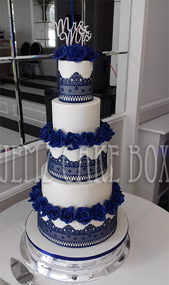 5 Tier Blue Lace Wedding Cake from     695   Jemz Cake Box 5 Tier Blue Lace Wedding Cake from     695