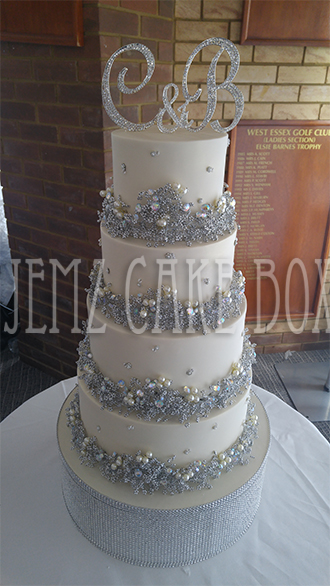 Crystallized Bling Wedding Cake from     899   Jemz Cake Box Crystallized Bling Wedding Cake from     899