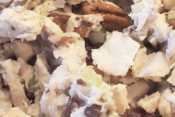 cranberry, walnut, chicken salad with rotisserie chicken, mayonnaise, craisins, walnuts, and celery