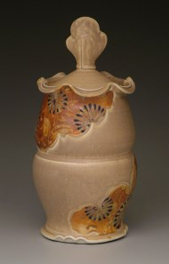 covered jar, salt-fired porcelain, decals