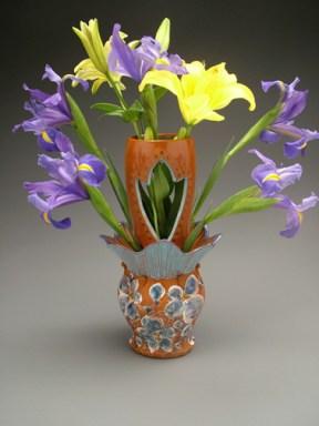 vase 2004, earthenware, decals