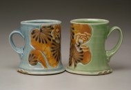 cups 2006, salt-fired white stoneware, decals
