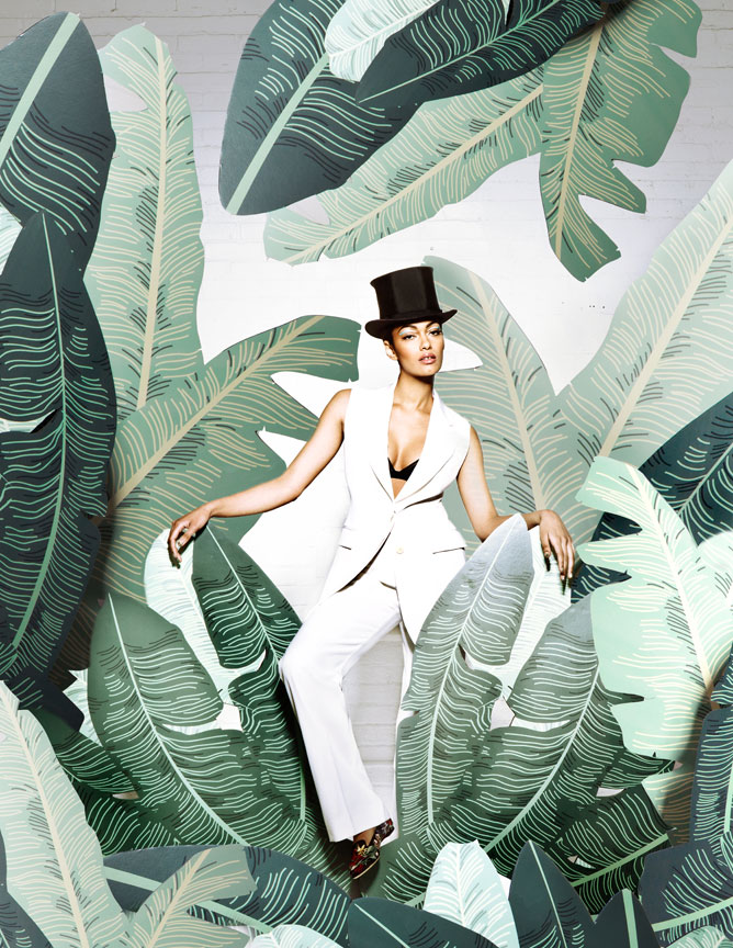 Banana Peal Palm Leaf Set Design Fashion Editorial with top hat