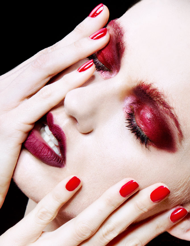 red beauty makeup and nails