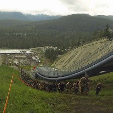 Death March: We trekked up the ski jump hill. It was slow and infinite.