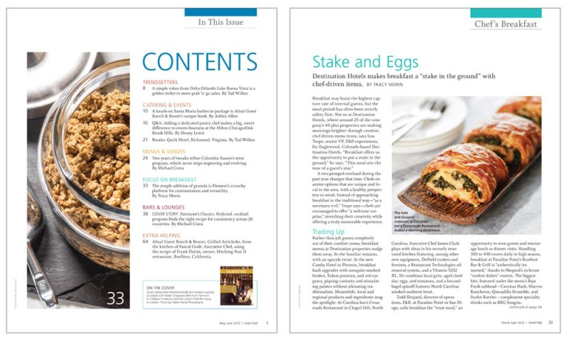 Table of Contents and Basic Article Page for Hotel F&B Magazine