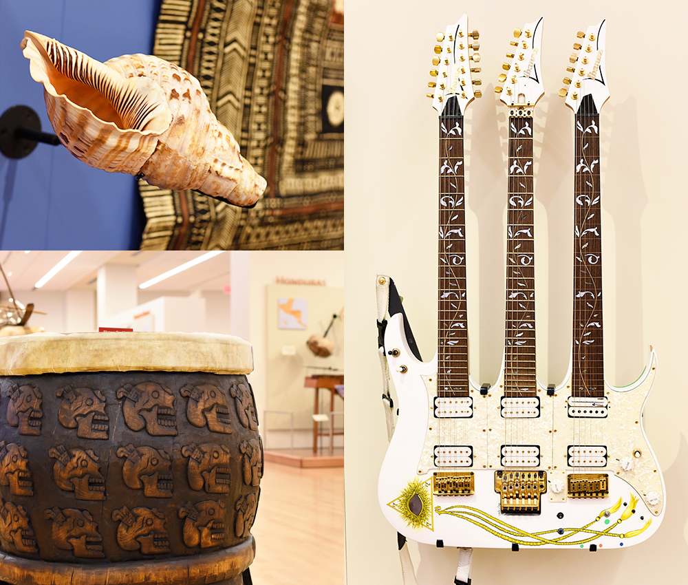 Guide to visiting the MIM (Musical Instrument Museum) in Scottsdale, Arizona: conch shell, triple-necked guitar, and Peruvian drum