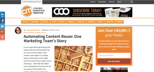 Automating Content Reuse: One Marketing Team's Story; Guest Blog Post for Content Marketing Institute