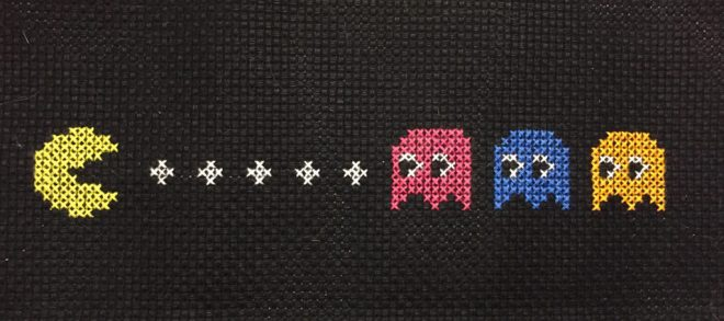 Pacman and ghosts cross-stitched