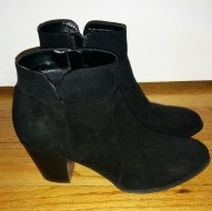 Charlees Stacked Heel bootie in black suede by Style & Co