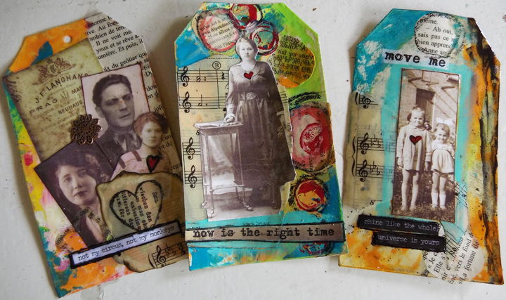 Jen Cushman more resin collage tags