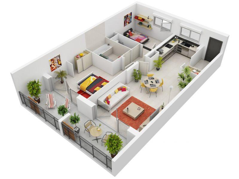 desain apartemen 2 kamar tidur luas