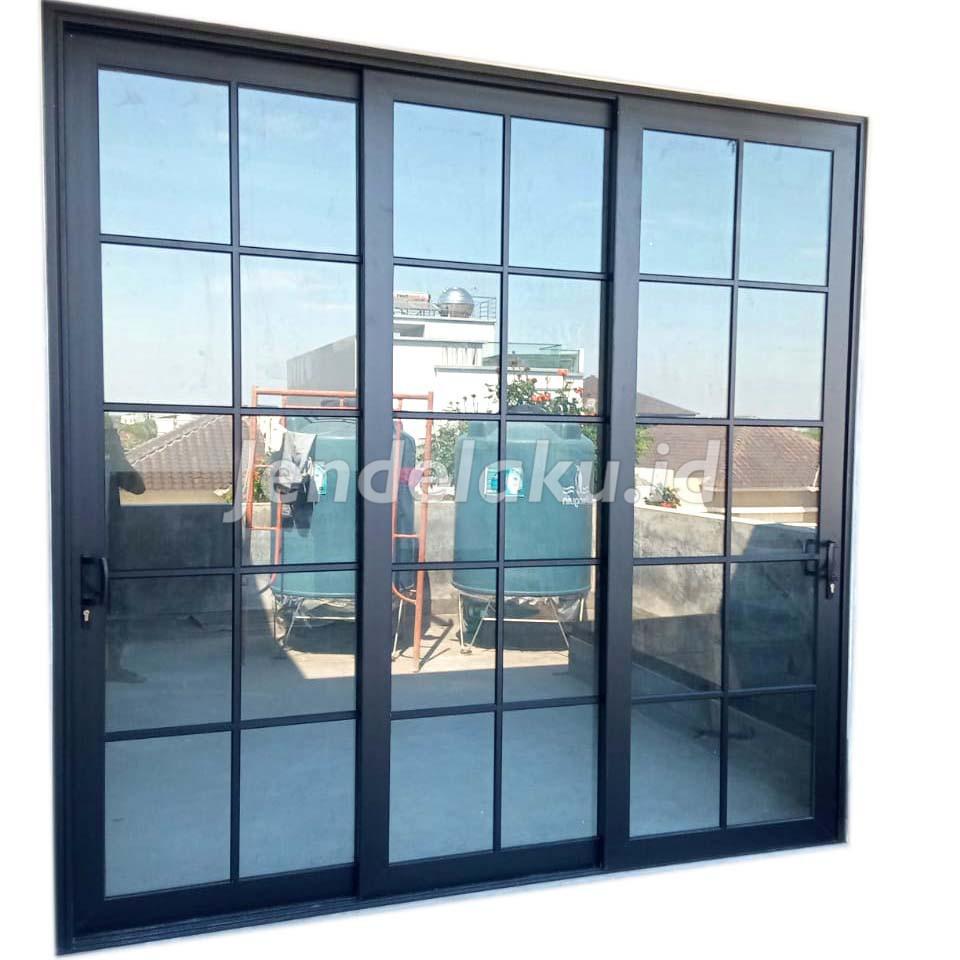 Pintu Sliding Aluminium Hitam