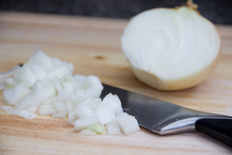 chopping onion