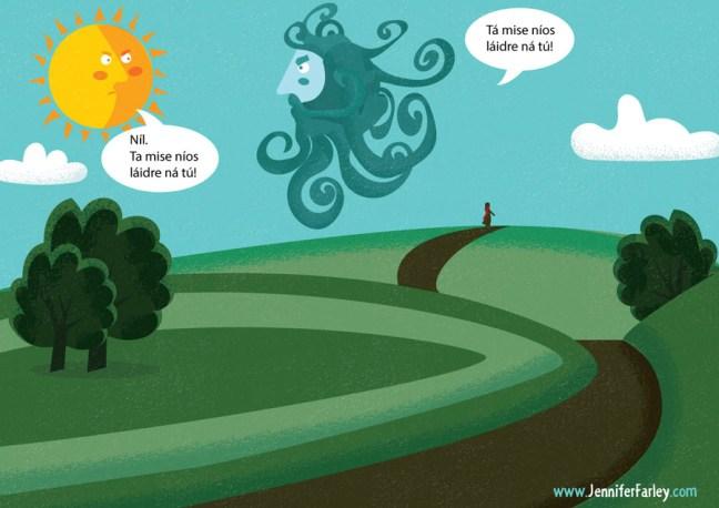 1-ManInDistance illustrated by Jennifer Farley