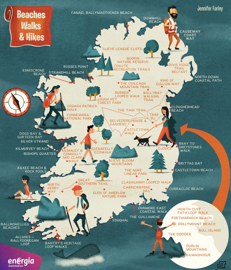 Hikes Walks Beaches in Ireland Map illustrated by Jennifer-Farley