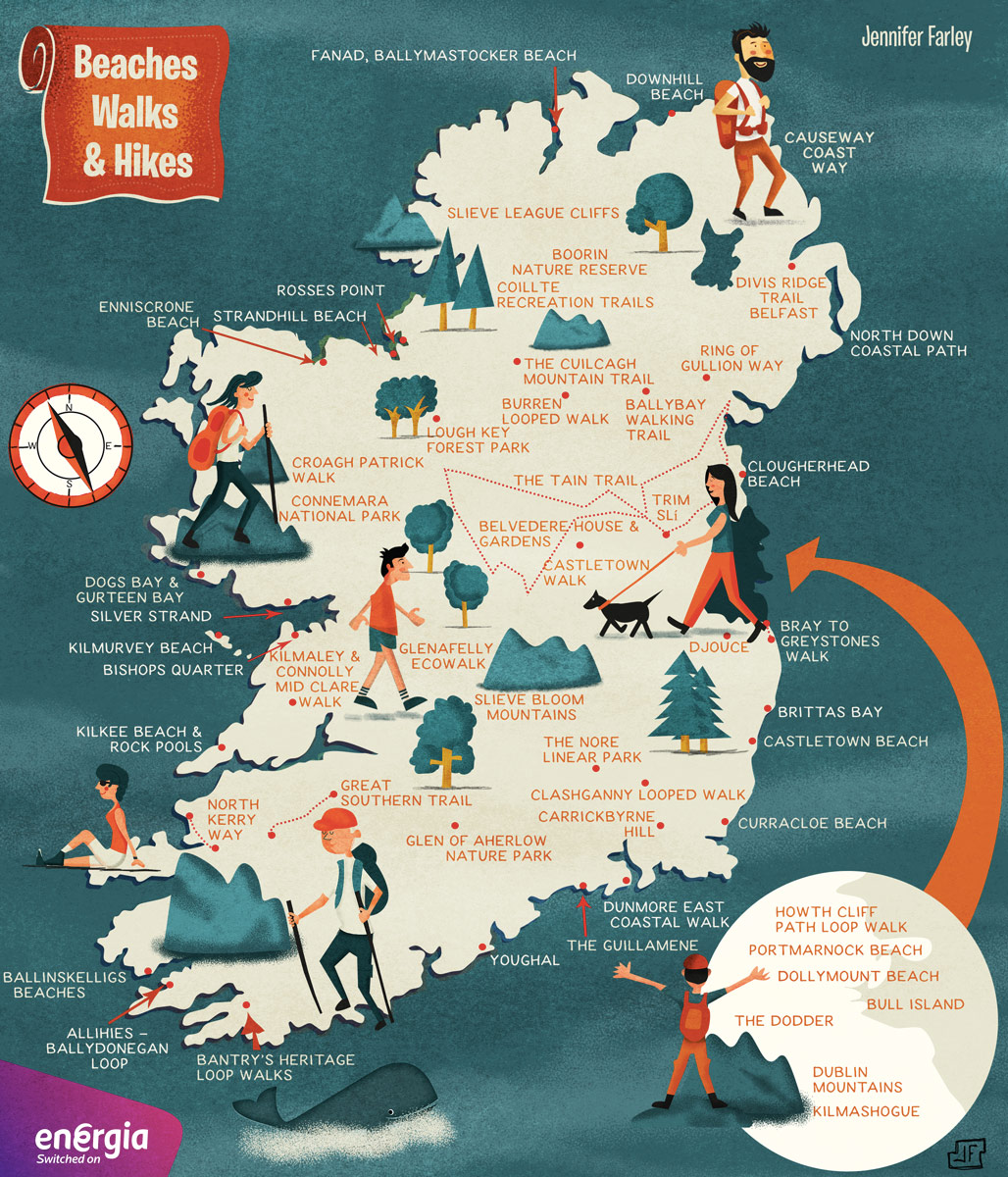 Map Of Ireland Beaches.Hikes Walks Beaches In Ireland Map Jennifer Farley