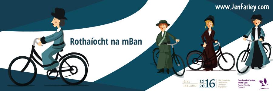 1916-Rising-Banner-Women-On-Bicycles-Jen-Farley