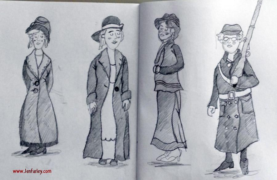 1916-Rising-Sketch-Women-On-Bicycles-Jen-Farley