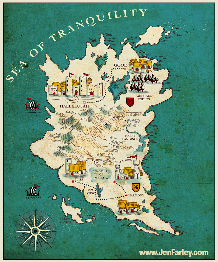 Happiness Fantasy Map illustrated by Jennifer Farley
