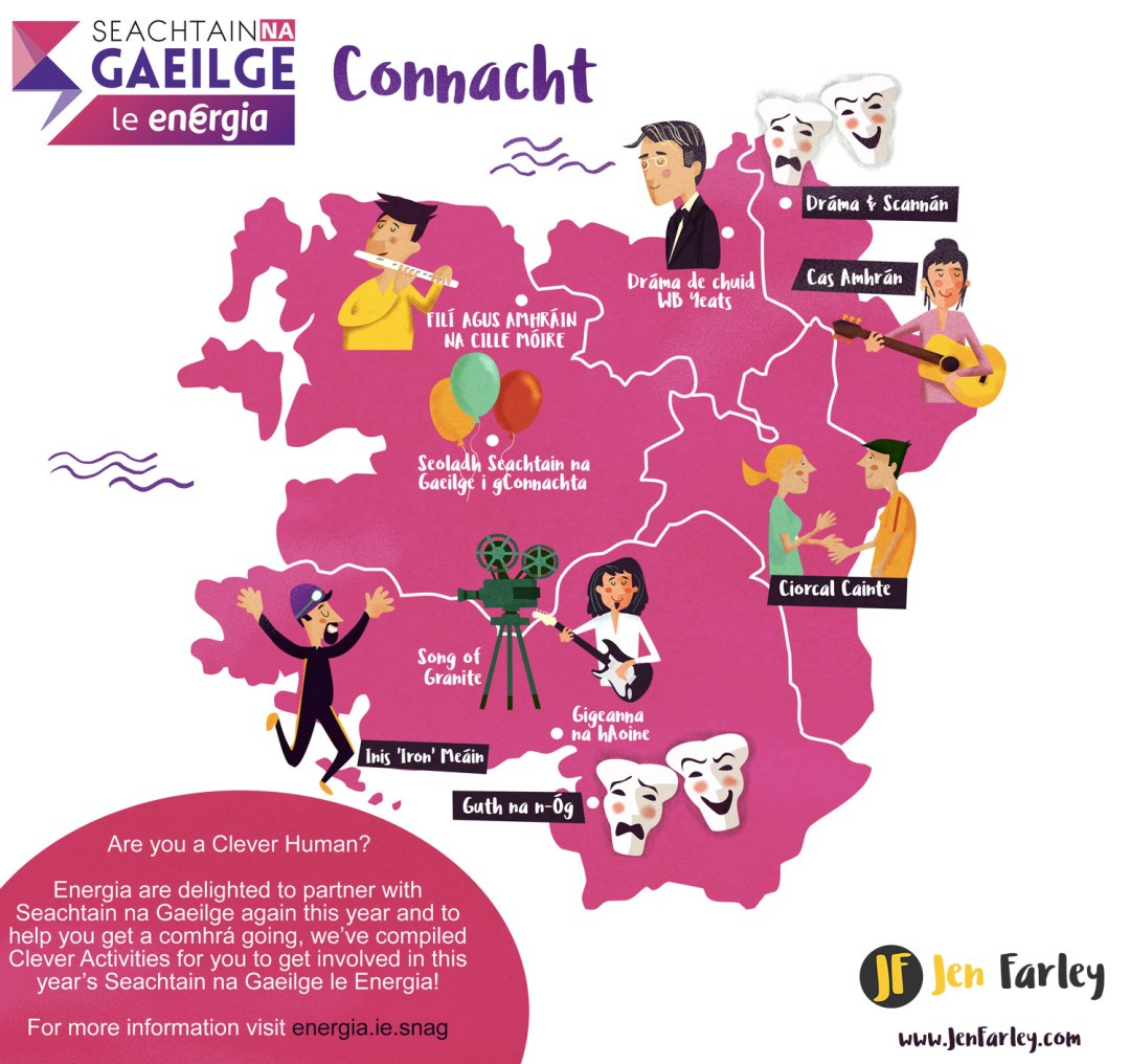 Map Of Ireland Gaeilge.Seachtain Na Gaeilge Ireland Provinces Event Maps Jennifer