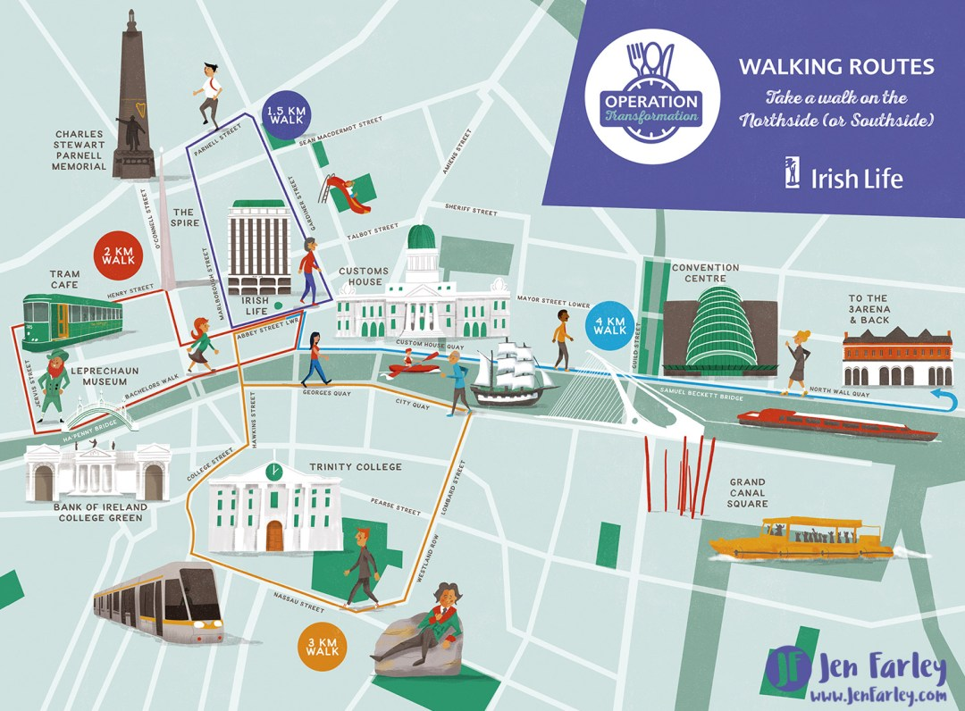 City Map Of Dublin Ireland.Walking Map Of Dublin Ireland Jennifer Farley Illustration Maps