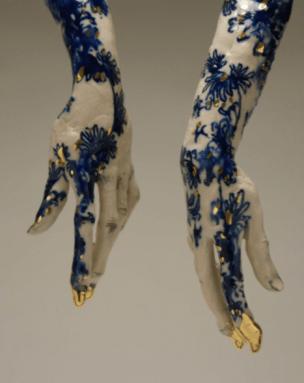 """Claire Curneen, """"Blue"""" (detail), 2013, porcelain, cobalt,"""