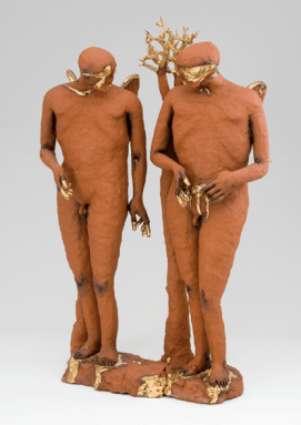 In the Tradition of Smiling Angels, Claire Curneen, 2007, terracotta and gold lustre