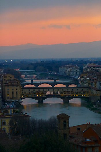 Ponte Vecchio at dusk from Piazzale Michelangelo