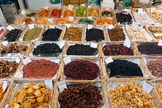 Dried fruit display at Mercato Centrale