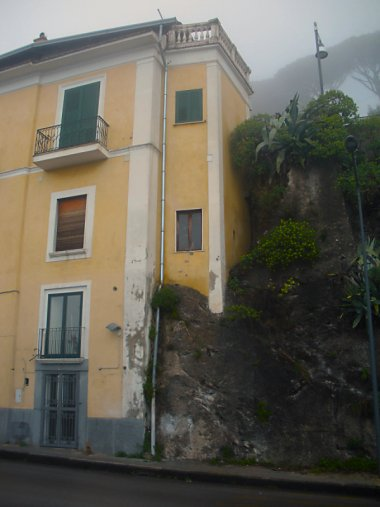 House built into the rocky hillside