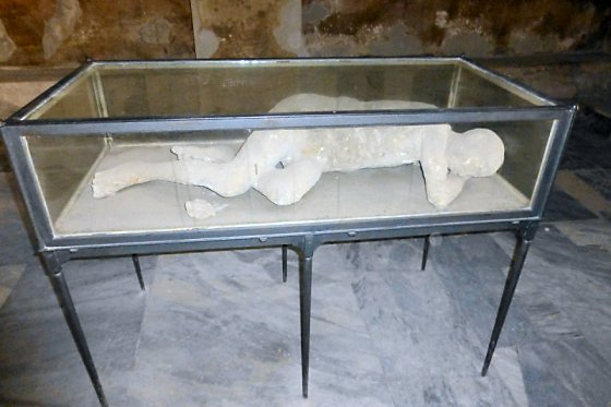 Plaster Person of Pompeii lying down