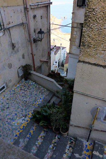 Stairway between buildings