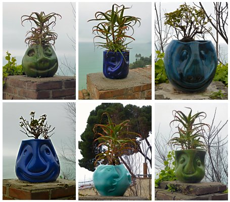 Ceramic flower pots in the shape of funny faces