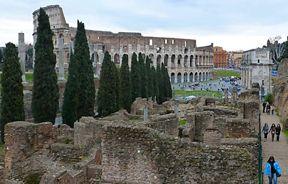 The Colosseum viewed from the Palatine Hill in the Roman Forum.