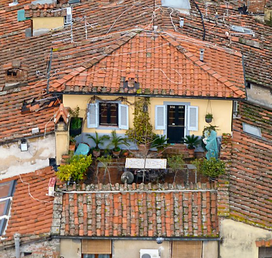 A cozy, open-sky rooftop garden in Lucca.