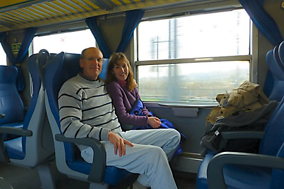 Mike and Jen on the train.