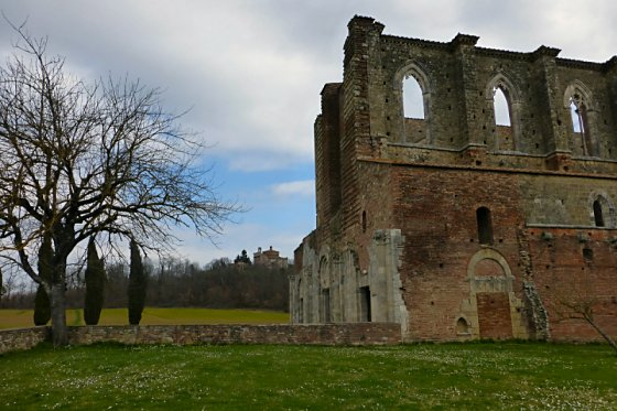 Abbey ruins and the chapel in the background.