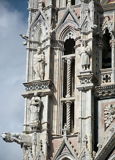 Carvings and statues on Siena's Duomo.