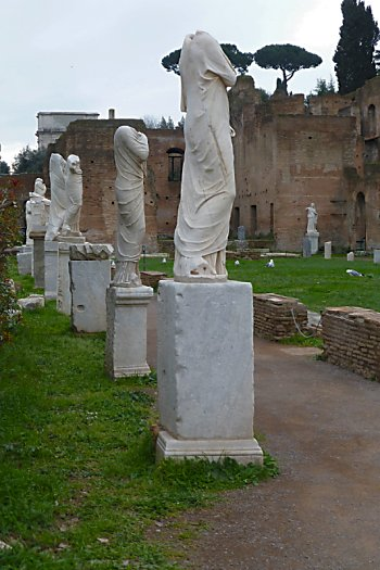 Headless statues at the House of Vestal Virgins in the Roman Forum.