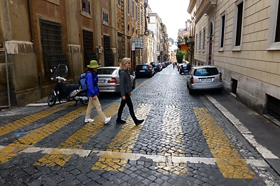 Via Gregoriana. Barb and Jen are walking across the street like the Beatles on Abbey Road.