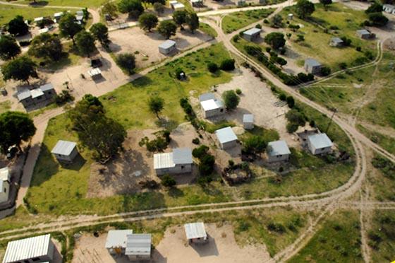 Bird's-eye view of homes in Maun, Botswana.