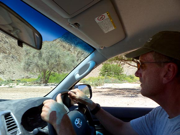 Mike driving.