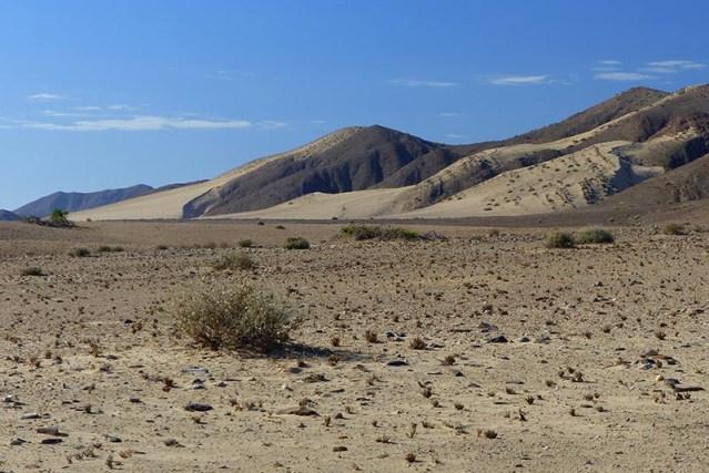 Wide, sandy plain with a few dry grass tutfts.