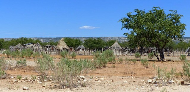 Huts in a compound, Namibia