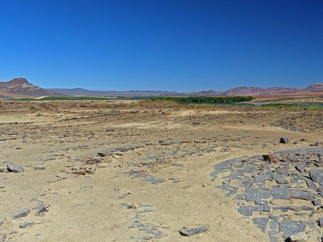 Farms irrigated by Orange River, Namibia